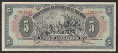 Currency of Salvador 5 Colones banknote, Banco Central de Reserva de El Salvador - 1944