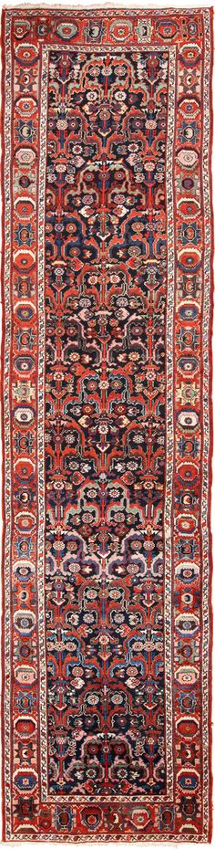 View this beautiful jewel tone colored tribal antique Persian Bakhtiari runner rug 49555 available for sale at Nazmiyal Collection in New York City.