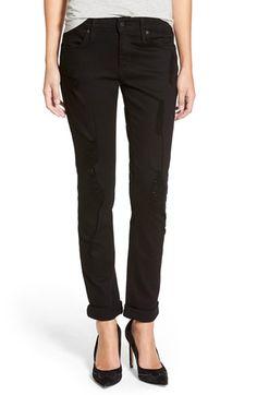 James Jeans SlouchyBoyfriend Jeans (Destroyed Black) cotton/elastane sz24 30L 180.00