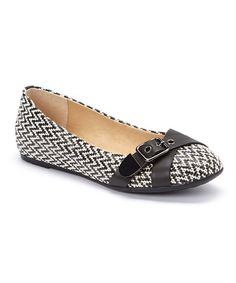 Another great find on #zulily! Black & White Zigzag Dallas Hailey Ballet Flat #zulilyfinds