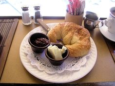 Croissant with butter and jam. #Croissant