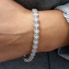 """Simon G. 18K White Gold """"Diamond Halo"""" Endless Diamond Bracelet"""