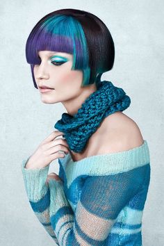 Short purple and teal blue hair