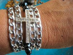 "Boho Chic Endless Rhinestone Cross Chunky Chain Wrap Beaded Bracelet....""FREE SHIPPING""   by LeatherDiva, $18.00"