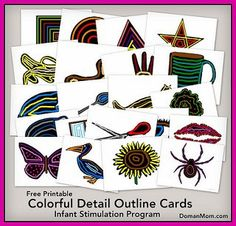 Free Colorful Details Outline Cards (infant stimulation program)