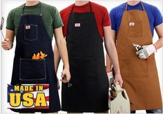 Round House Made in USA Shop Aprons are full length, 2 pocket shop aprons available in blue denim, brown duck, and black duck. Rugged and professional.