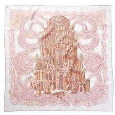 Hermes les Rivieres De Babel By Annie Faivre Silk Scarf.