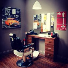 Barber station Barber Man, Beard Barber, Barber Logo, Barber Chair, Barber Shop Interior, Barber Shop Decor, Barber Clippers, Barber Tattoo, Barbershop Design