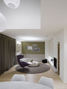 Living Room Design - From Quant 1 apartment in Stuttgart, designed by Ippolito Fleitz Group for single women | #InteriorDesign #Interiors #LivingRoom |