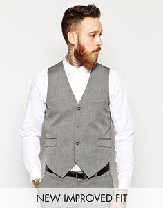 ASOS Slim Fit Waistcoat In Grey Pindot