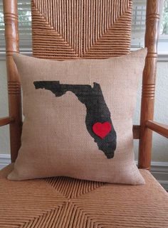 State of Florida pillow love pillow stenciled pillow burlap