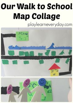 A fun and easy craft to make a map of your route to school to help children to prepare for starting school by being familiar with the walk and playing with a fun map.