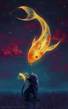 Art fantasy goldfish kitten Mobile Wallpaper - ID 13927 Art And Illustration, Vintage Illustrations, Anime Kunst, Art Anime, Mythical Creatures, Fantasy Creatures, Fantasy Kunst, Anime Fantasy, Ouvrages D'art