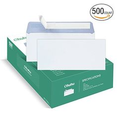 Ohuhu Pack Double Window Envelope SELF SEAL Adhesive Tinted - Quickbooks invoice envelope size