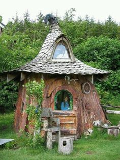 Small Fairy house in Oregon  Wouldn't    some lucky children just love this? And what a cute little house to have in the backyard and decorate with.