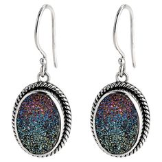 Chic Ombre Earrings - bold sterling silver earrings, featuring ombre druzy stones and rope-inspired settings.