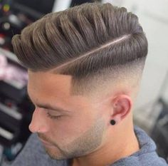 Drop Fade Pompadour with Deep Part and Quiff - Pompadour Fade Haircut