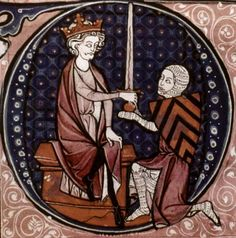 Photograph:A young man is knighted by the king of France, in an illustration from a 13th-century French book.