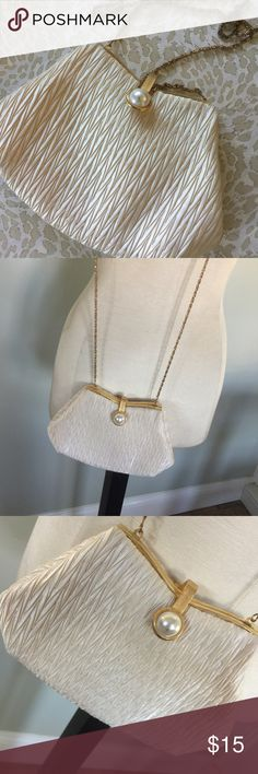 La Regale Evening Bag Purse Nice condition with a few light rubs on the lining.Iff white with a chain strap.Great for a wedding or prom bag.There is a little scratch on the faux pearl clasp. La Regale Bags