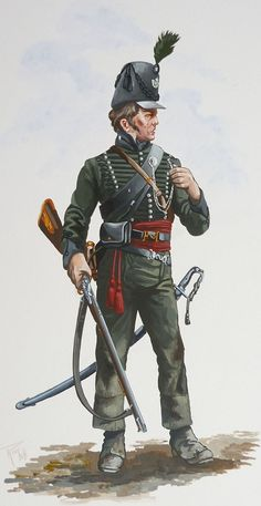 An Original Military Painting - 95th Foot Rifle Regiment - 1815.