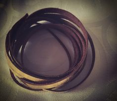 Leather gold foil armband