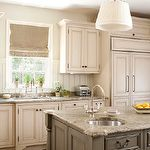 kitchens - sand walls antique white kitchen cabinets gray kitchen island balsuter legs granite tops beadboard backsplash  Two-tone kitchen with