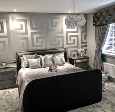 Versace Greek Key Silver Wallpaper 935235 — Home Decor Hull Limited Black And Silver Living Room, Wallpaper Living Room, Bedroom Interior, Silver Wallpaper Bedroom, Wallpaper Decor Bedroom, Bedroom Decor, Silver Living Room, Home Decor, Silver Bedroom Decor