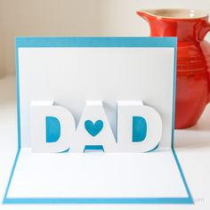 Present your dad with this easy to make Father's Day pop-up card. Free Silhouette Cameo and PDF templates available. Diy Father's Day Cards, Fathers Day Crafts, Happy Fathers Day Cards, Father's Day Diy, Dad Day, Cricut Cards, Pop Up Cards, Birthday Cards, Card Making