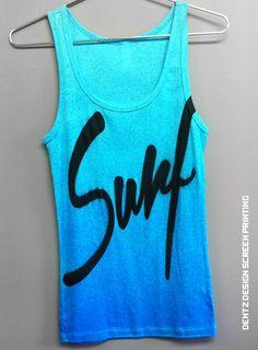 Women's Tank Surf beach island spring summer tank top clothing sand hawaii barbie style. $25.00, via Etsy.