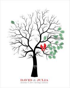 Unique Guest Book Alternative Thumbprint Wedding Tree Fingerprint Wedding Tree Love Birds Personalized Wedding Gift Bridal Shower Gift
