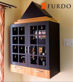 Enchanting dark brown Puja unit/Mandir with bells by Furdo
