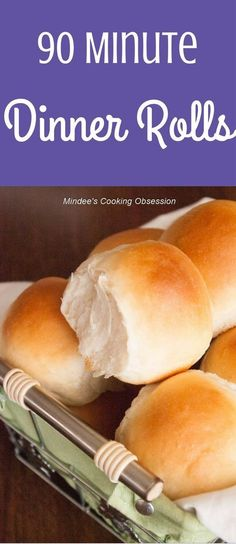 Light, fluffy dinner rolls in 90 minutes! Cut down your time in the kitchen and still enjoy amazing dinner rolls with this recipe! via @https://www.pinterest.com/mindeescooking/ #dinnerrolls #easydinnerrolls #quickdinnerrolls #lovetobake #rollrecipe #homemaderolls