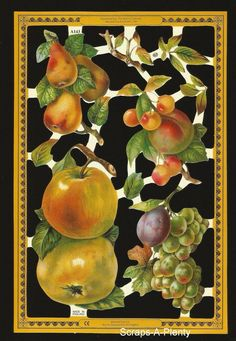 Mamelok Embossed English Scrap Die Cut - Fruit Yummy  (Archives Collection) A143