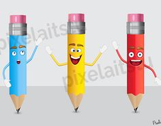 Trio of Cute Pencils Character