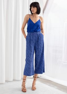 High Waisted Culottes - Blue Leopard - Culottes - & Other Stories Culottes Street Style, Fashion Story, Girl Fashion, High Waisted Culottes, Cute One Piece Swimsuits, Cool Graphic Tees, Crop Blouse, Wide Leg Pants, Wide Legs