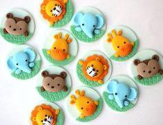 Jungle fondant cupcake topper set. Safari cupcake topper. Fondant animals. Monkey, elephant, lion, tiger giraffe fondant toppers.
