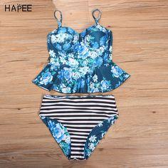 f051187dd4c2d Micro Bikini Floral Print PEPLUM Swim Suit High Waist Swimwear Women 2017  Bikini Brazilian Swimsuit Swimming
