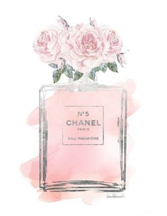 Chanel Roses watercolor with Silver effect printed by hellomrmoon