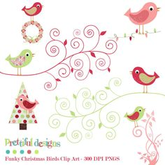 Christmas Bird Clip Art - Personal or Commercial Use - Funky Christmas. $4.00, via Etsy.