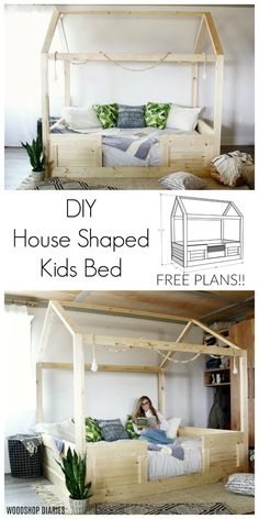 DIY Kid's House Bed Build a house bed<br> These free plans show you how to build your own DIY kids house bed from standard construction lumber and simple joinery. There's a video tutorial, too! House Beds For Kids, Toddler House Bed, Kid Beds, Diy Beds For Kids, Twin Bed For Toddler, Beds For Toddlers, Kids Bedroom Diy Boys, Girls Twin Bed, Childs Bedroom