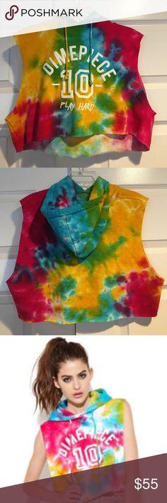 Dimepiece Tie Dye Cut Off Hoodie Worn a few times, really good condition! Dimepiece Tops Sweatshirts & Hoodies