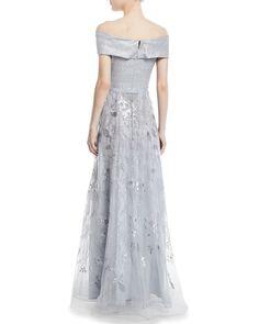 68eeb65f43643 Rickie Freeman for Teri Jon Jacquard Portrait Off-the-Shoulder Lace Gown