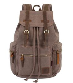 Bagtopia Vintage Men Casual Canvas Leather Backpack Rucksack Satchel Hiking  Bag Light Coffee   Click image 90d834c7d3c