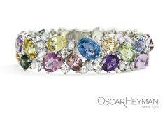 Platinum Multicolored Sapphire and Diamond Bracelet by Oscar Heyman Brothers