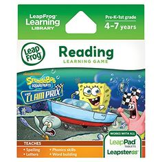 LeapFrog SpongeBob SquarePants The Clam Prix Learning Game works with LeapPad Tablets Leapster GS and Leapster Explorer *** Be sure to check out this awesome product.Note:It is affiliate link to Amazon.