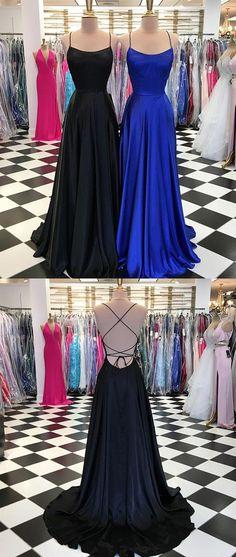 SIMPLE SATIN LONG PROM DRESS, LONG EVENING DRESS 2018 M2192