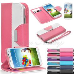 Luxury Flip PU Leather Wallet Cover Stand Case For Samsung Galaxy S4 Mini i9190