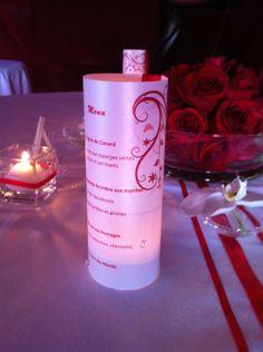 Menu photophore th me ange plume dor by scgraphisme - Chemin de table lumineux ...