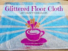 Glittered floor cloth by The Crafty Chica. Fun for every day. Fabulous for the holidays!