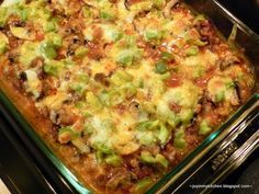 Zucchini Pizza Casserole - This sounded kind of weird to me at first, but it's really just a great way to enjoy lots of veggies without feeling liking you're eating lots of veggies ;)